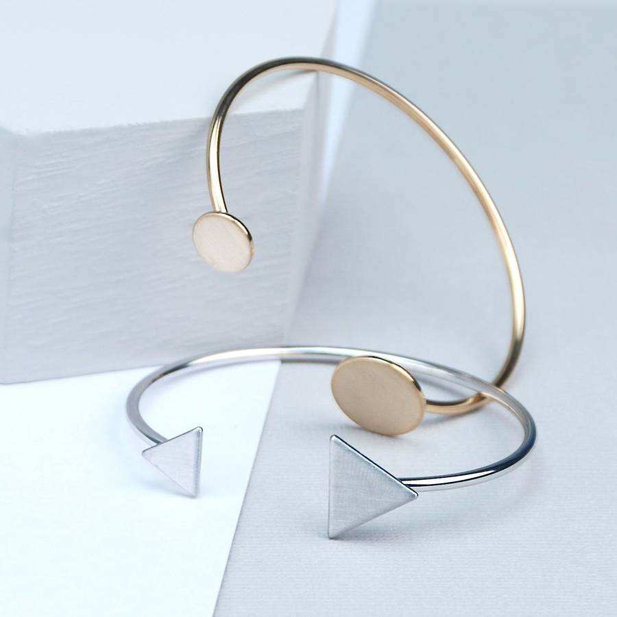 Stainless steel 보석 Women Men 패션 Geometric Charm Plain Triangle Disc 모양을 잘 끝 Open 커 프 Bangle Bracelet