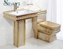 ceramic gold plated toilet bathroom color toilet set golden toilet bowl