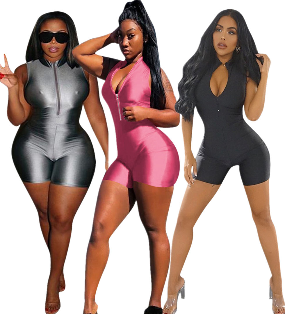 Y3201 smooth short bodycon jumpsuit romper for women