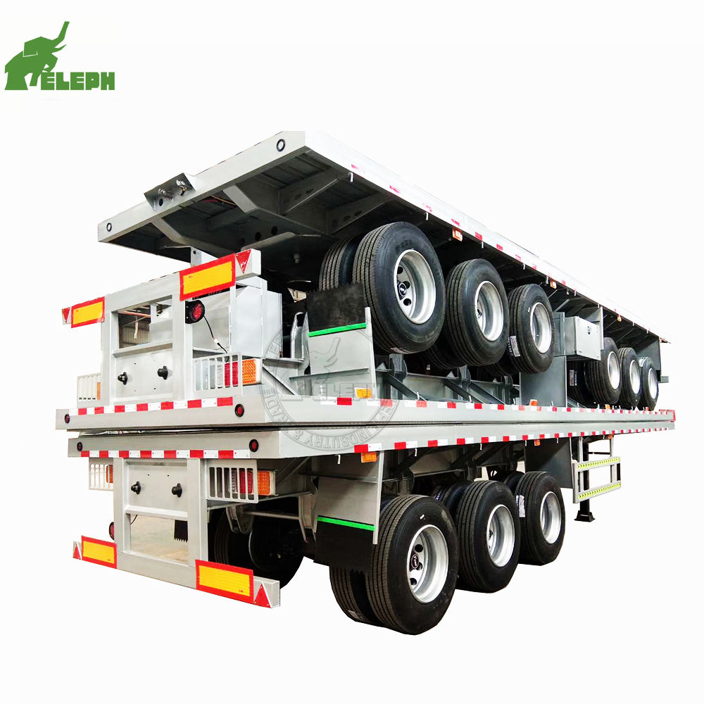 Best Price Factory Sale 2 axle s Tri-axle 20ft 40 feet 40ton Container Used Trailer Flatbed