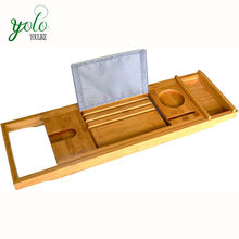 Bamboo Bath Caddy with Expandable Wood Tray Holds Drink, Book/Tablet, Soap, Phone