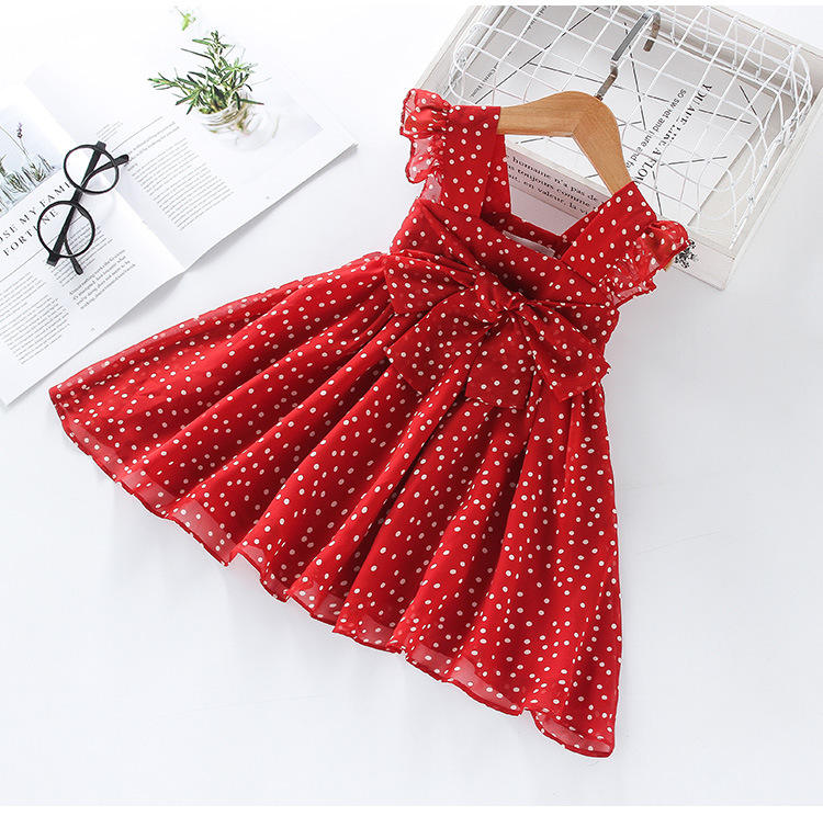 2019 the latest new fashion popular large bow chiffon white wave dots spaghetti strap red kids girls casual dress 3 to 5 years