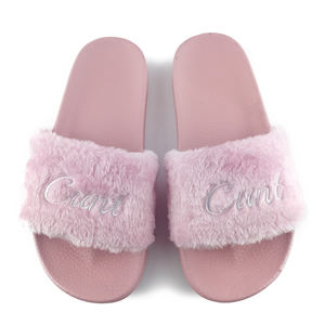 Greatshoe antiskid plush fur fancy slides for women, fur design fashion winter fox fur slippers