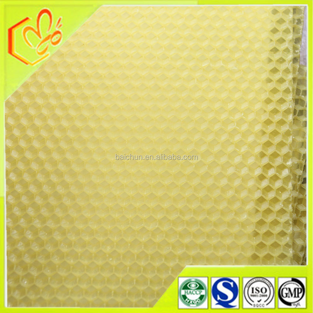 100% natural beeswax foundation sheet with big hiveand no off-smell for bees of Chinese beeswax foundation