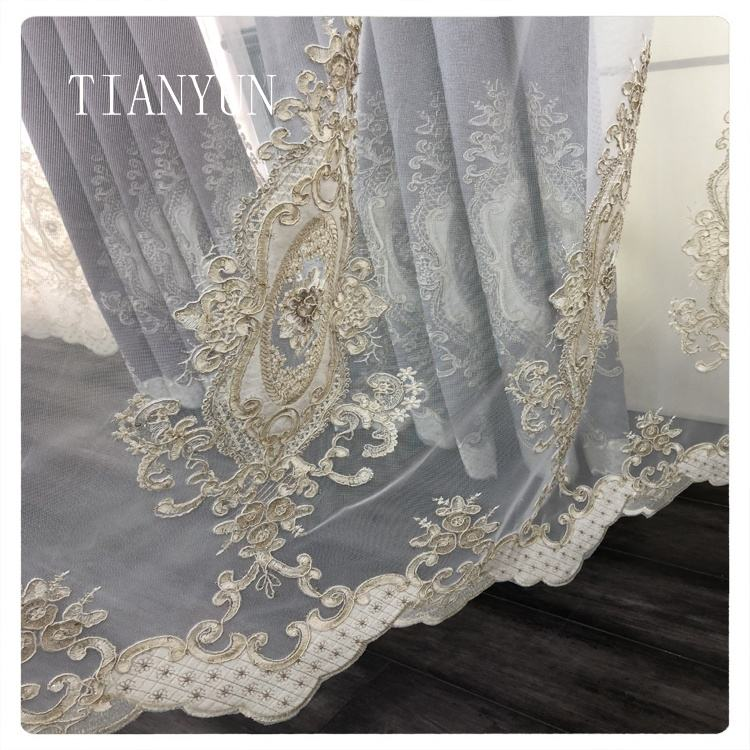 Elegant Chenille Eyelet Indian Embroidery Drapes Luxury Curtains