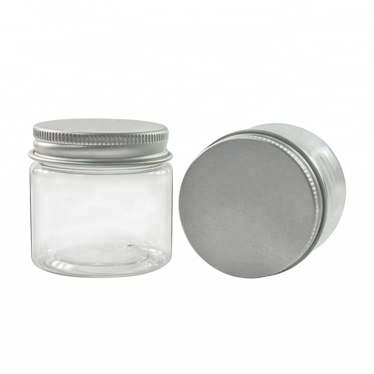 Wholesale empty food grade 30g 40g 50g 60g 80g 100g 120g 150g 200g 250g 500g clear plastic jar with aluminum lid