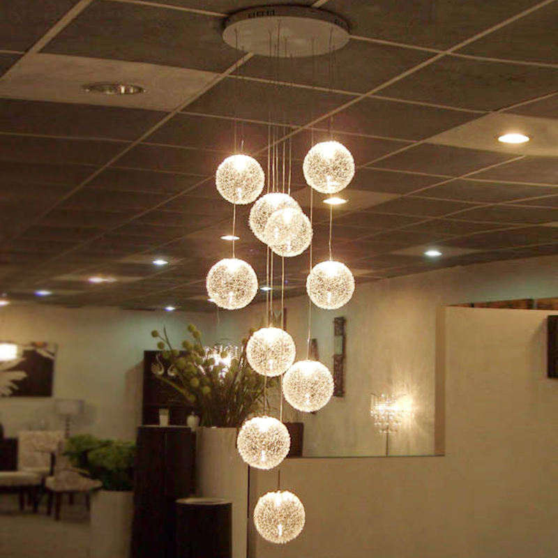 Modern led glass pendant light ball hanging night design Decorative duplex long Staircase Chandelier for high ceilings