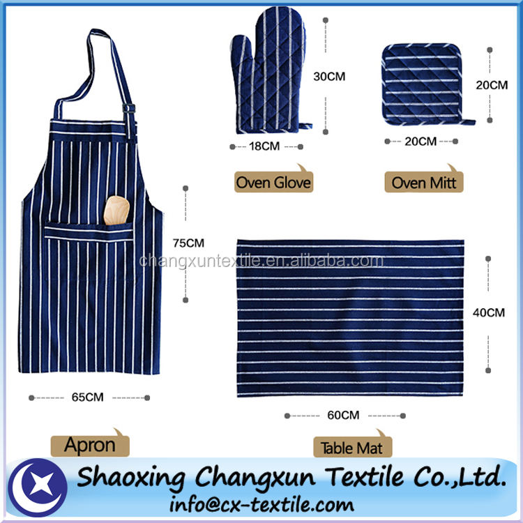 long oven glove and kitchen apron set