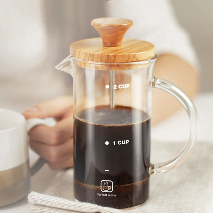 Pyrex Pembuat Kopi French Press 12OZ Bambu Reusable Bambu French Press Coffee Plunger