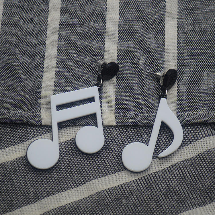 Korean Version Of Personality Exaggerated Acrylic Music Note Earring