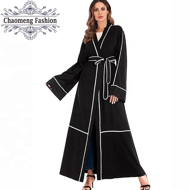 1679# Long Coats for Muslim Lady Plain Black Khaki Abaya Collection Boutique Dubai Fashion