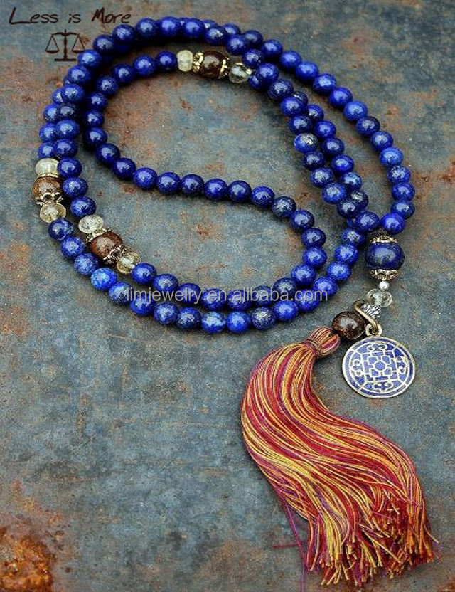 108 pcs lapis lazuli beads mala necklace ,new natural stone Buddhism necklace with tassel for praying