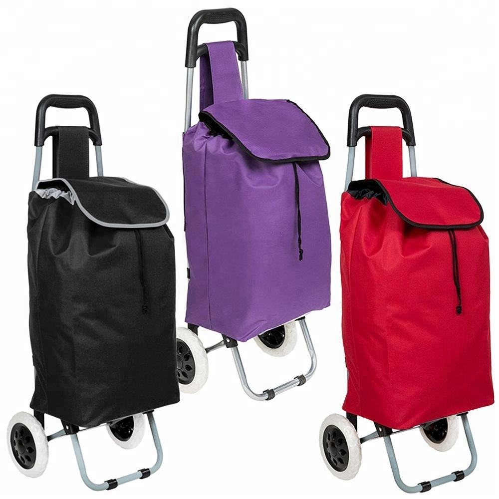 Wear-resisting 600D oxford cloth with two eva wheels metal grocery cart