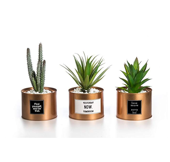 set of 3 Mini Artificial Plants Plastic Green Grass Cactus with Special Golden Can Pot Design