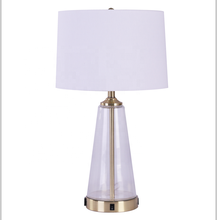 Beside Cone Desk Lamp in Clear Glass Table Lamp for Bedrooms Living Room with White Lampshade