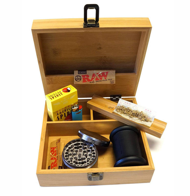 Bamboo Wood Stash Box with Rolling Tray For Smoking Accessory