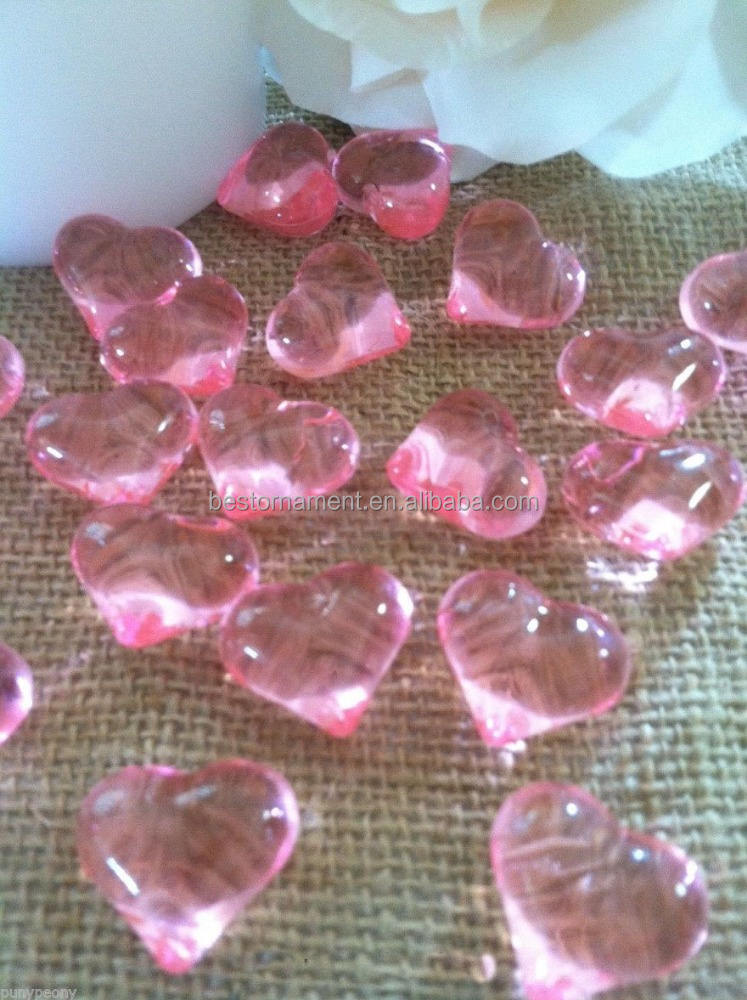 50 pieces/ bag Pink Acrylic Heart Shaped Table Confetti/Scatters/Vase fillers
