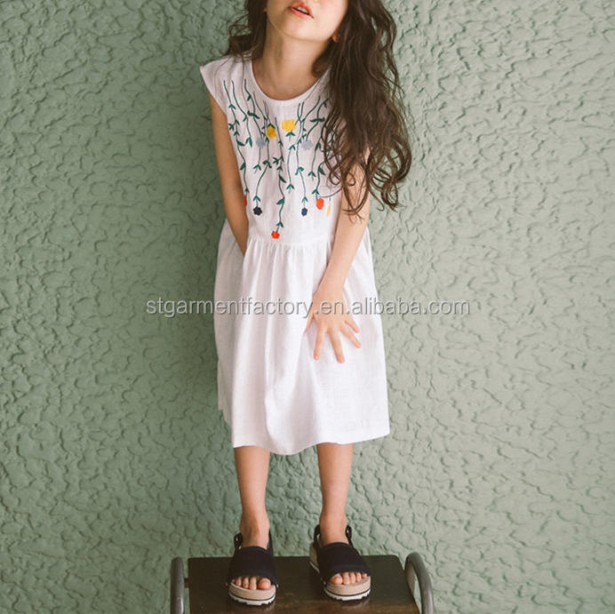Summer girls party dresses for embroidery design children clothing STb-0941