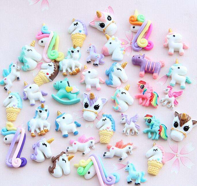 Mixed Colors Resin Crafts Unicorn Horse Charms For DIY Phone Decoration Slime Kit Flat Back Kawaii Cabochons Toys For Hair