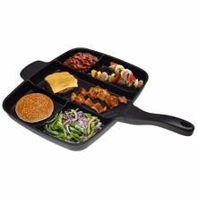 Pre-seasoned Divided 5 In 1 Non Stick Cast Iron Frying Pan With Cookware Sets