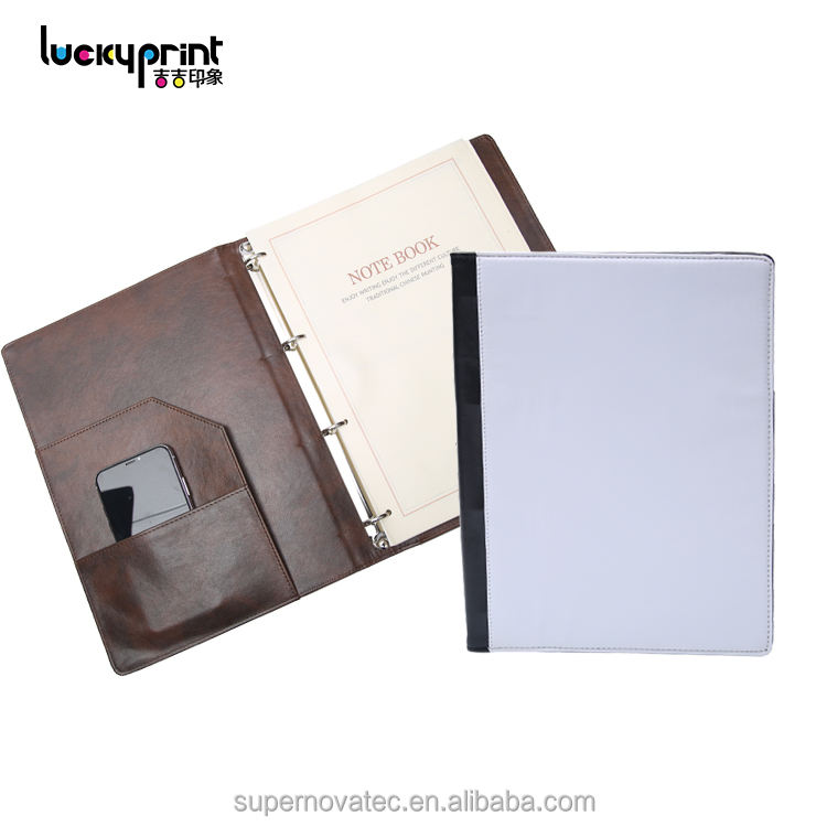 Sublimation A4 PU Leather Ring Binder Business Loose-leaf Blank Notebook Diary, Custom A4 Notebook
