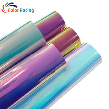Car color changing Holographic iridescent vinyl sticker adhesive rolls rainbow chrome car wrap vinyl with chameleon effect