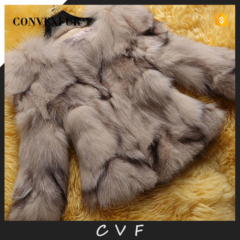 Factory direct supply round collar fox fur winter coat promotional price