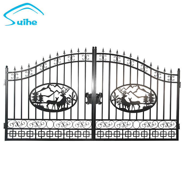 High quality modern iron gates models/ Iron Gate Designs /Galvanized powder coated luxury wrought iron gate designs