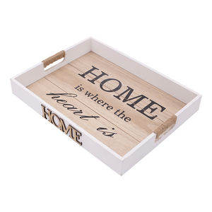 Wooden white home decor food tray decoration plate