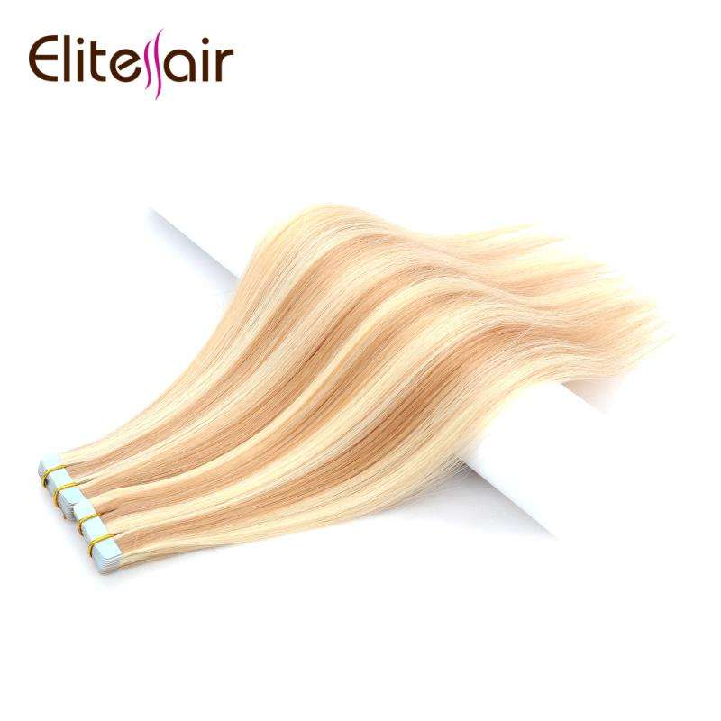 "P27/613 Invisible Hairline European Tape Hair Extensions Factory 20"" 22"" Good Quality 100 Human Skin Weft Hair"