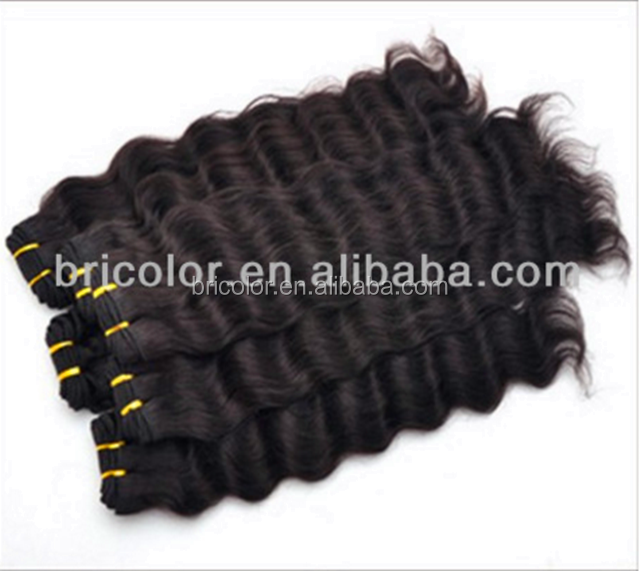 Geen Wirwar Geen Mix Kleur 1 # Jet Black Deep Wave 100% Human Hair Clip In Hair Extension