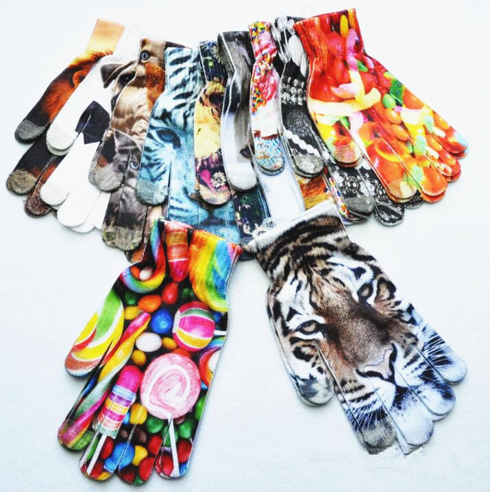 Winter Touchscreen Cartoon Animal Print Gloves