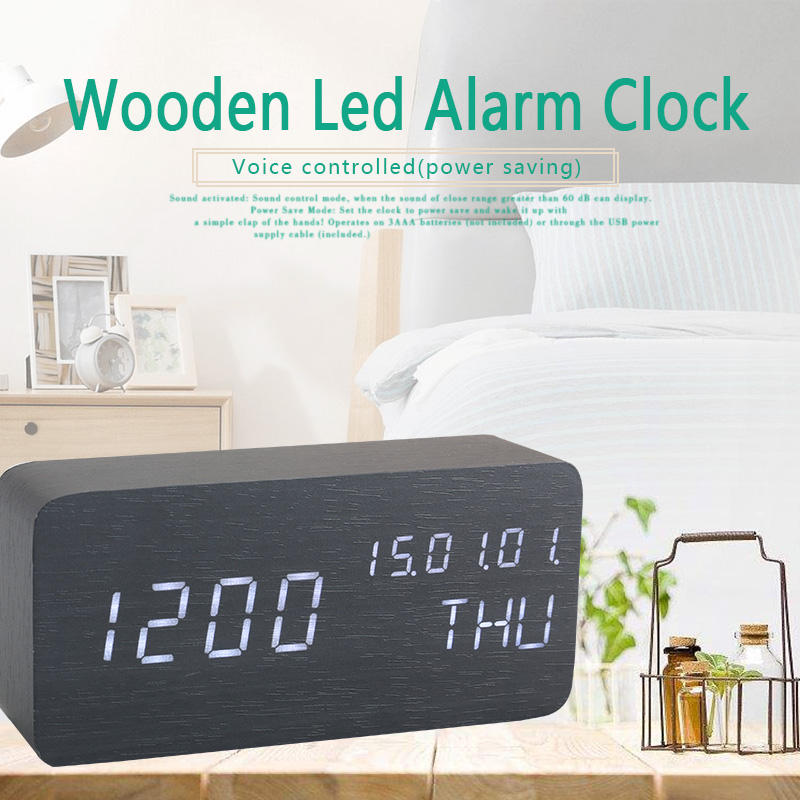 Digital Kayu Dekoratif LED Modern Desktop Jam Alarm LED