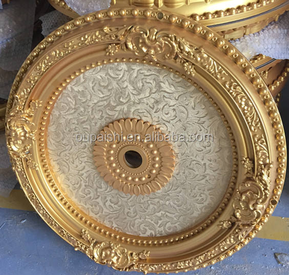 Gold round designs PS plastic artistic ceiling
