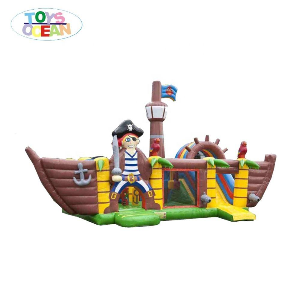inflatable pirate pirate bounce house with slide,pirate boat jumping castle