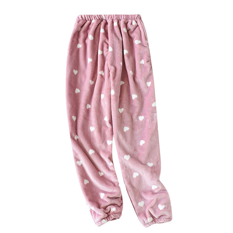 Comfortable Flannel Velvet Plant Printing Sexy Pajamas Pants For Women