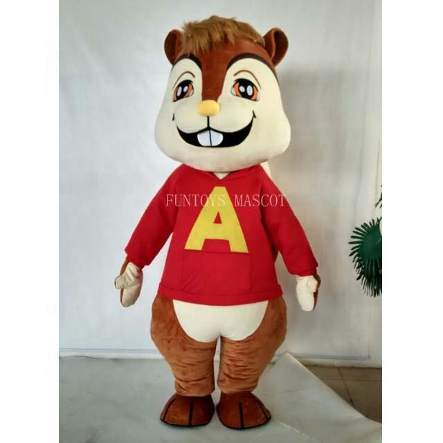 Funtoys CE Film Furries <span class=keywords><strong>Alvin</strong></span> And The Chipmunks Scoiattolo Costume Della Mascotte