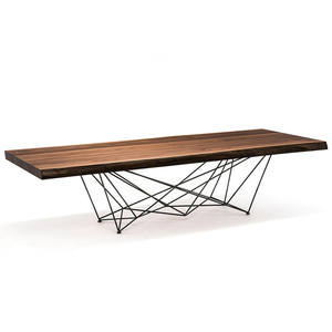 Hot Sale Simple 8 seater Solid Walnut Wood Top Dining Table With Special Iron Legs Use For Home