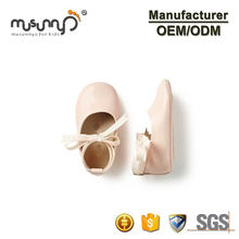 Fashion Custom Soft Leather Baby Girls Moccasin Lace Bow Pink Baby Ballerina