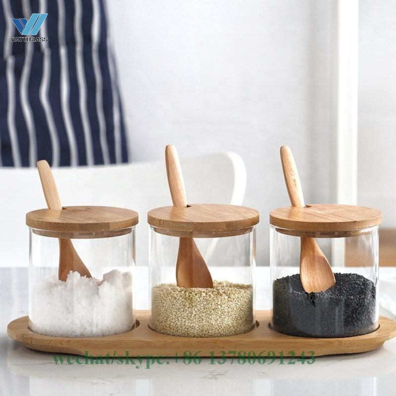 VT Borosilicate gass spice jar set glass bamboo lid cover with wooden spoon, 3pcs per set with bamboo tray