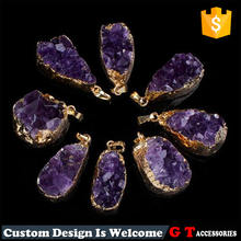 High quality elegant natural rough gemstone necklace pendant, A grade amethyst pendant