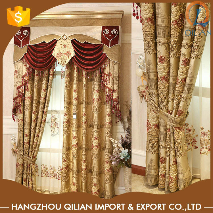 Factory Direct China embossed jacquard swag and tail curtains