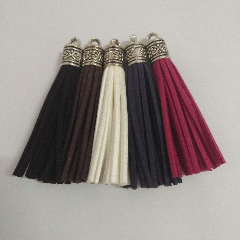 CoolWin wholesale 6mm leather tassel with metal cap for leather keychain