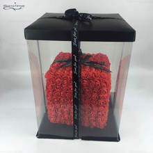 IFG new type red cube with roses   cheaper rose teddy Bear rose gift