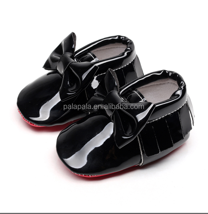 2020 New arrival Patent leather Red sole Baby Moccasins baby boys girls Shoes with bow-tie Infant toddler first walkers shoes