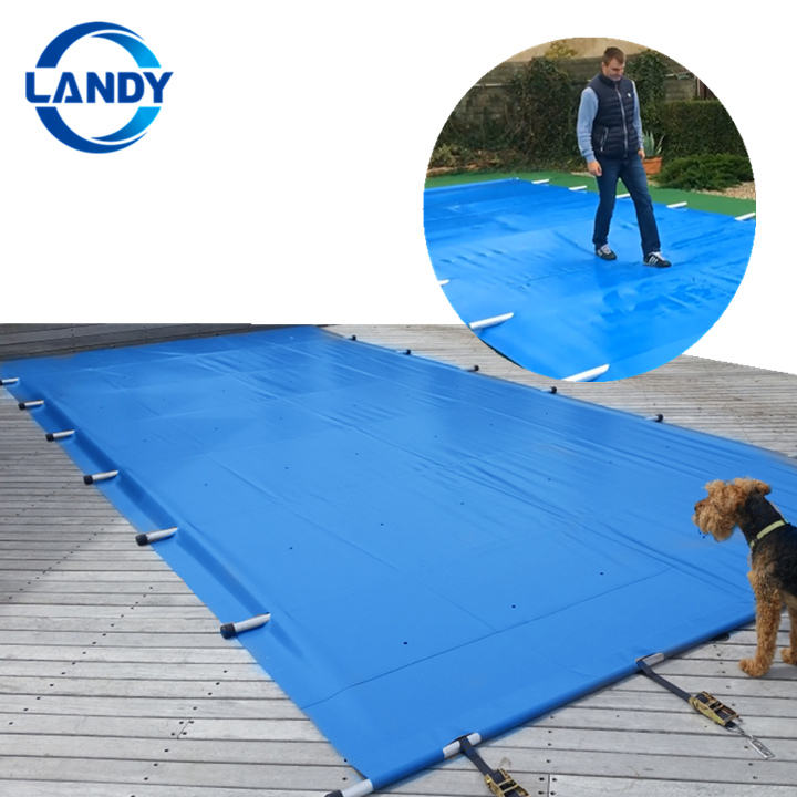 Security Pool Cover Winter Cover for Pool,Waterproof PVC Tarpaulin Swimming Pool Cover with Aluminum Poles
