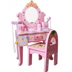 Wooden Pink Dressing Table Toy Strawberry Pink Princess Dresser mini Furniture Toy