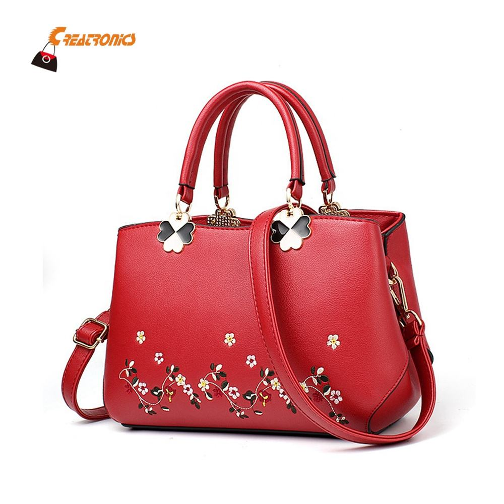 Embroidered Flowers Wholesale China Indian PU Small Fashion Designer Lady Handbag