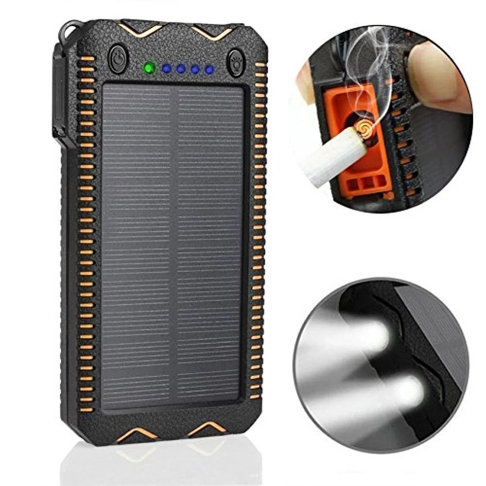 Power bank solar cell 50000mah solar power bank portable charger with led lights