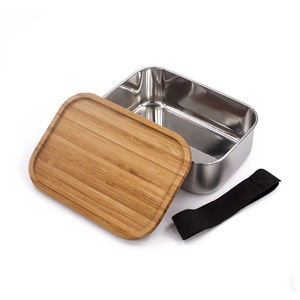 Custom logo 식품 container 도시락 lunch box 304 stainless steel lunch box 와 bamboo lid